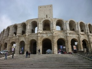 "The Roman amphitheater in Arles is now used for Provence-style ""bloodless"" bullfights."