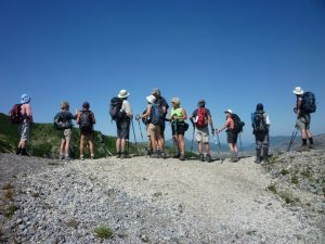 Hikers at Windy Ridge, overlooking the Mt. St. Helens crater