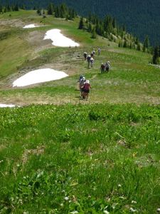 """Snow Camp"": our group passing scattered snow at one of the summits in July."