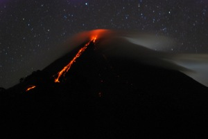 Mount Arenal at night (This was the 2008 eruption.)