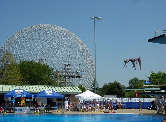 Synchronized Diving Event at World Masters.  The geodesic dome in the background is from Montreal's Expo '67.