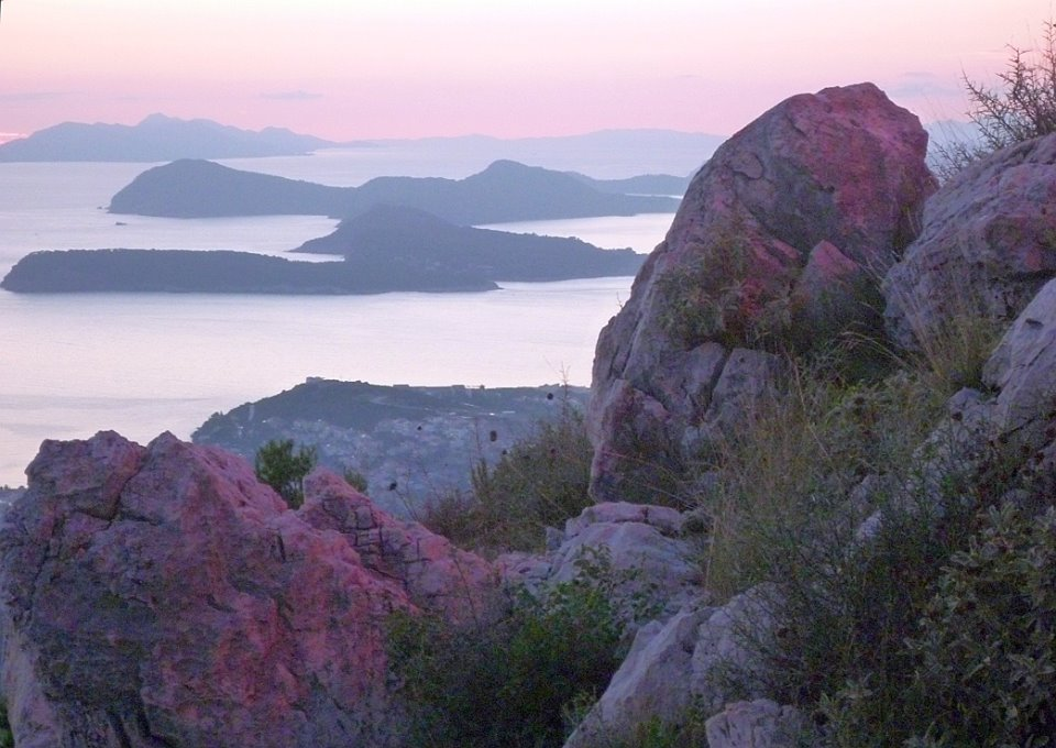 The southern Dalmatian Islands at dusk as seen from Srđ above Dubrovnik.