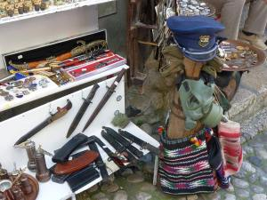 Remnants of war for sale at the Mostar bazaar.