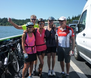 Cycling Friends, on the ferry to Lummi Is, WA