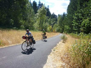 Fellow riders on the bike trail into Cascade Locks, OR