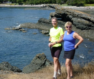 Taking a break from cycling on Pender Island, BC